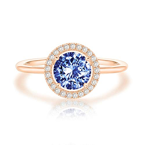 Sapphire Ring Rose (PAVOI 14K Rose Gold Plated Swarovski Crystal Birthstone Ring - Adjustable Stackable Ring September)