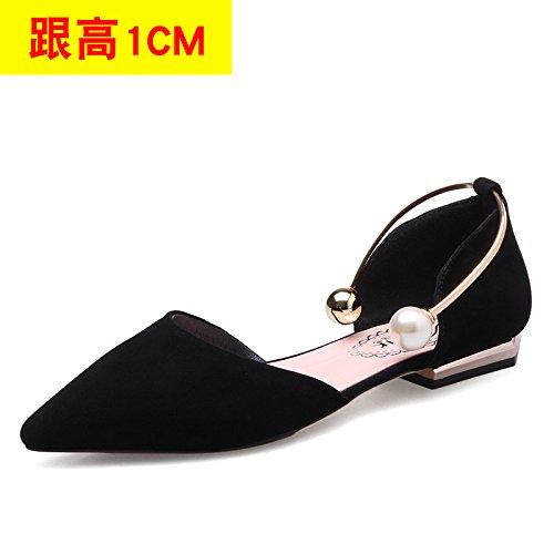 VIVIOO Women'S Sandals High-Heeled Sandals High-Heeled Shoessummer Tip High-Heeled Stiletto Shoes Sneakers Hollow Sandals Pearl Heel Shoes Cat Heels Black 1CM