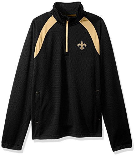 G-III Sports NFL New Orleans Saints High Impact Half Zip Pullover, 4X, Black (Saints Pullover New Orleans Jacket)