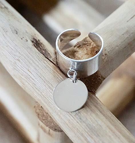 order best value best supplier Bague breloque médaille gravée en argent 925 - Bague médaille