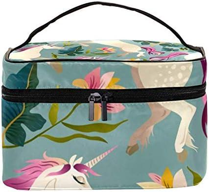 TIZORAX Unicornio con Flor y Bolsa de cosméticos de Viaje Estuche de tocador de Viaje Caja de Organizador de Maquillaje Grande: Amazon.es: Equipaje