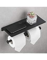 DUFU Toiletrolhouder Wandmontage Dubbel Toiletpapierhouder met Plank WC Rolhouder Zonder Boren Zelfklevend Papierrolhouder Aluminium Lijm- en Schroefinstallatie voor Badkamer