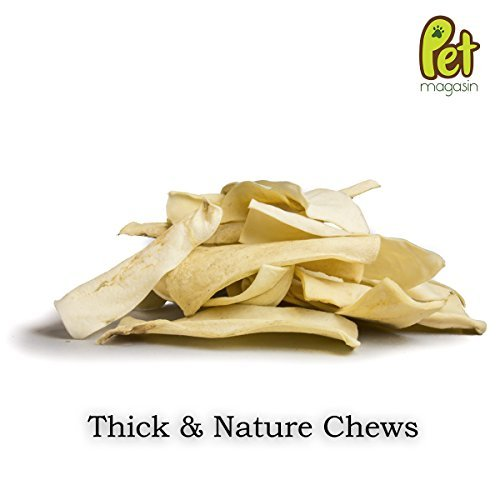 Natural Rawhide Chips Dog Treats – Thick Cut Long Lasting Beef Hide Chews for Pets of All Sizes by Pet Magasin