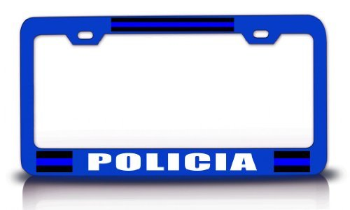 License Plate Covers Policia Police Cop Steel Metal Blue License Plate (Little Earth License Plate Purse)