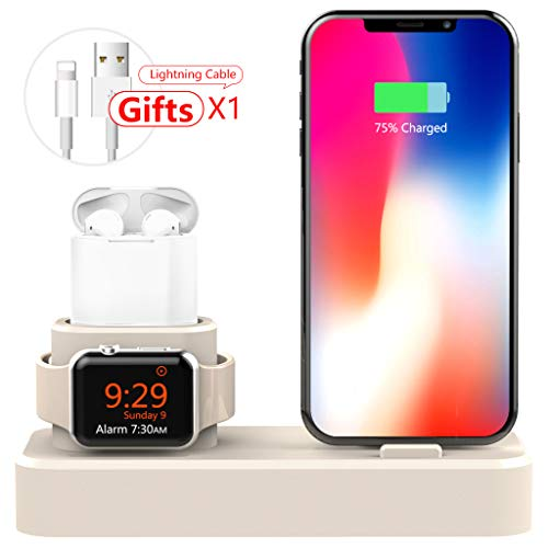AODUKE 3 in 1 Silicone Charging Stand for Apple Watch/iPhone and AirPods,Charger Stand Dock Station for Apple iWatch Series 4/3/2/1 /AirPods/iPhone Xs/XS Max/XR/X/8/8 Plus(White