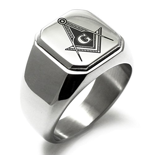 Stainless Steel Freemasons Masonic Royal Compass Symbol Square Flat Top Biker Style Polished Ring, Size ()