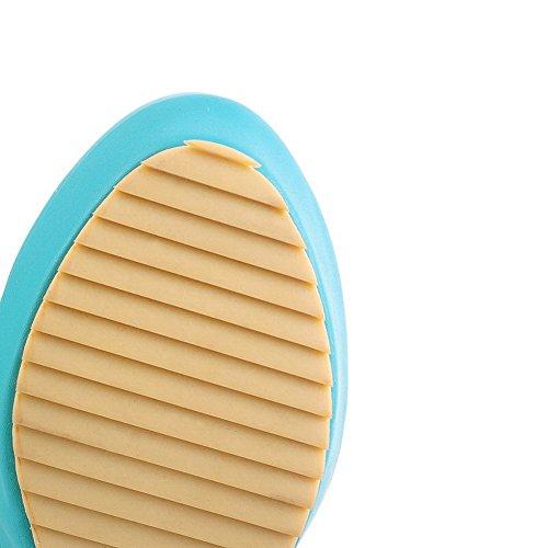 Balamasa Meisjes D-ring Hoge Hakken Ronde Teen Zacht Materiaal Pumps-schoenen Blauw