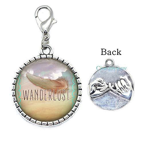 Cioaqpyirow Wanderlust Zipper Pull-Bohemian Feather.Wanderlust Jewelry.Wander Quote Lobster Clasp.Boho Jewelry.Boho Zipper Pull,Boho Chic.Gypsy Jewelry,HO0E25