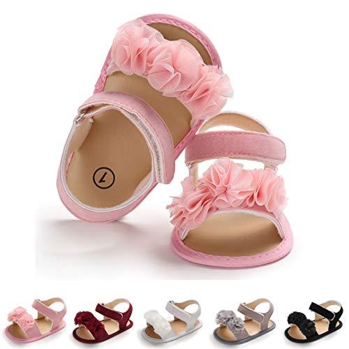 Lafegen Baby Girls Summer Sandals Moccasins Soft Non-Slip Sole Toddler Crib First Walker Shoes (6-12 Months M US Infant, A-Pink)