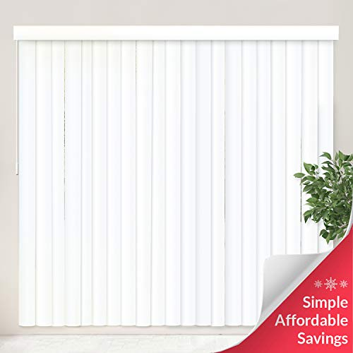 """CHICOLOGY Cordless Vertical Blinds Patio Door or Large Window Shade, 78"""" W X 84"""" H, Oxford White Vinyl"""
