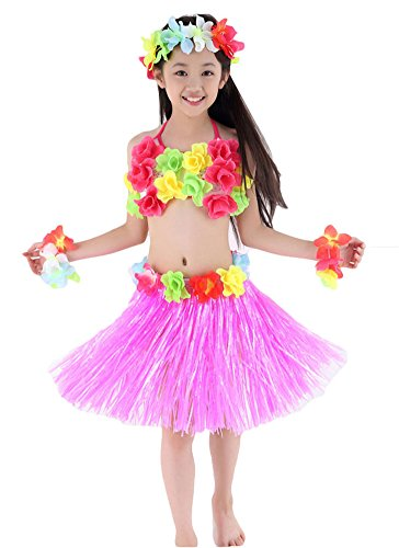 Fighting to Achieve Hawaiian Hula Dance Costume 5pcs For Girls -