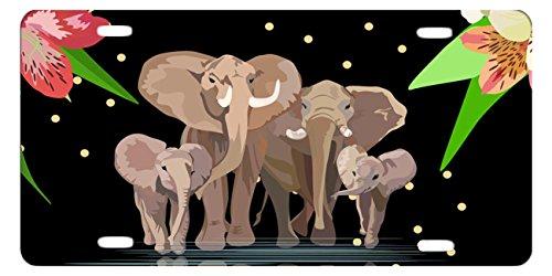 Elephant Wrap Image - DQVWGK Elephant Family Custom Aluminum License Plate Frames Cover for Car License Plate Cover with 4 Holes Car Tag 6