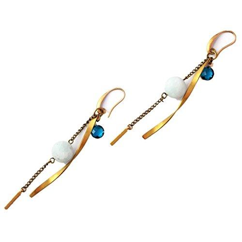 Crimmy-Inlaid Blue Quartz Amazonite Bead Earring-Slim Chain-Designer's (Blue Quartz Earrings)