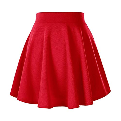 Naokenu Women Basic Flared 26 Skater Mini Skirt High Waist Stretchy Casual Skirt(L,Red 26) ()
