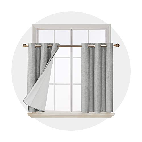 Deconovo 100 Percent Blackout Curtains 45 Inches Thermal Insulated Sun Blocking Light Grey Curtain Panels for Window 2 Panels
