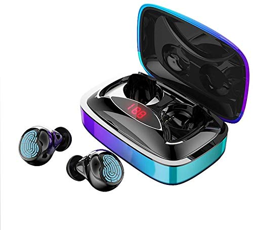 Earbuds, Bluetooth 5.0 Wireless Headphones 180H Play Time Deep Bass Stereo Sound Instant Pairing Built-in Noise Cancelling Mic with Charging Box,Colour:Blue (Color : Blue)