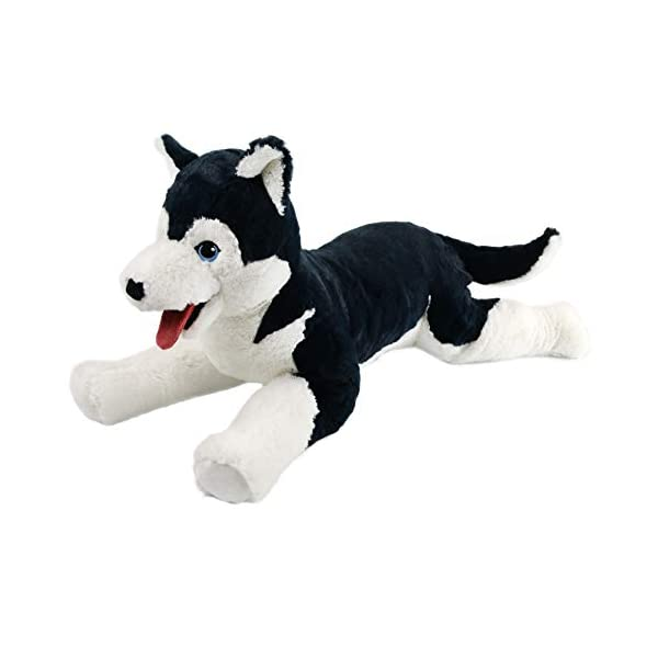 Houwsbaby Large Lifelike Husky Stuffed Animal Soft Dog Plush Toy Cuddly Alaskan Malamute Puppy Gift for Kids Boys Girls Pets Home Decoration Holiday Birthday, 27.5'' (Husky) 1