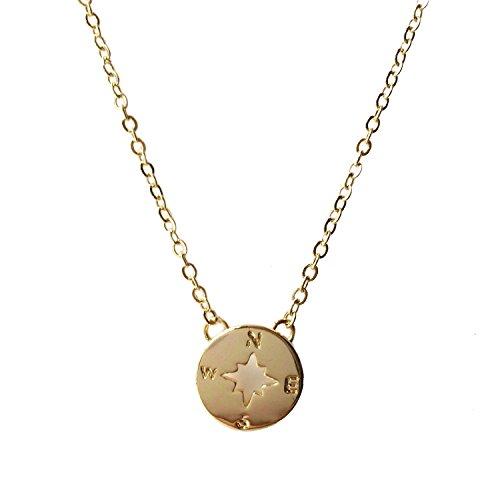 - WeiVan Gold Compass Pendant Necklace Circle Disk Graduation Friendship Bridesmaid Gift