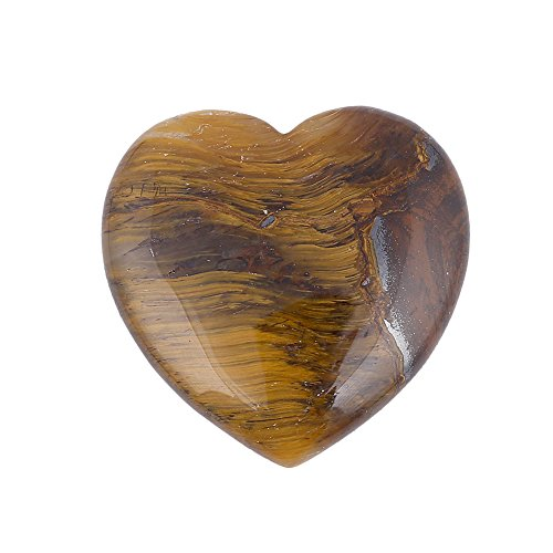 Bingcute Tiger's Eye Gemstone Pocket Mini Puff Heart Worry Healing Palm Stone 40mm (1.6