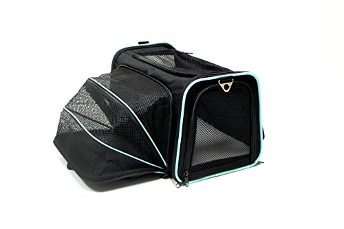 Bark-and-Meow-Premium-Expandable-Foldable-Travel-Carrier-Airline-Approved-DCC1800D-M-BlackAqua-Medium-Black