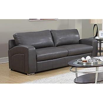 Amazon Com Tov Furniture Zoe Leather Sofa Grey Kitchen
