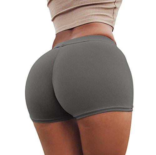 Amiley Hot Sale Womens Active Shorts Fitness High Stretch Butt Lifting Workout Booty Shorts (Gray, S)