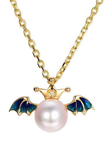 Hutang solide Or jaune 18ct 8mm Perle d'eau douce naturelle et diamant et bleu Ailes d'ange Pendentif pour femme Bijoux en perles