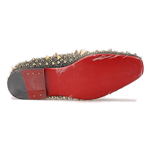 Hi & Hann Uomo Mocassino Lungo In Pelle Scamosciata Nabuk Rivettato Scarpe Slip-on Mocassino Pantofola Fumatori Multi