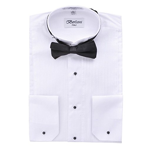 Men's Classic Tuxedo Wing Tip Dress Shirt With Bowtie In Black And White by Berlioni ()