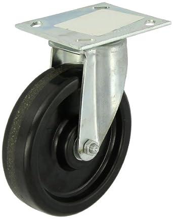 "E.R. Wagner Plate Caster, Swivel, Phenolic Wheel, Roller Bearing, 450 lbs Capacity, 6"" Wheel Dia, 1-1/2"" Wheel Width, 7-3/8"" Mount Height"