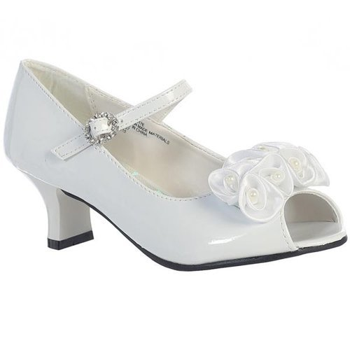 Swea Pea & Lilli Girl's Peep Toe Dress Shoe With Satin Flowers White (Flower Girl Dress Shoes)