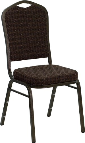 Flash Furniture HERCULES Series Crown Back Stacking Banquet Chair in Brown Patterned Fabric - Gold Vein Frame