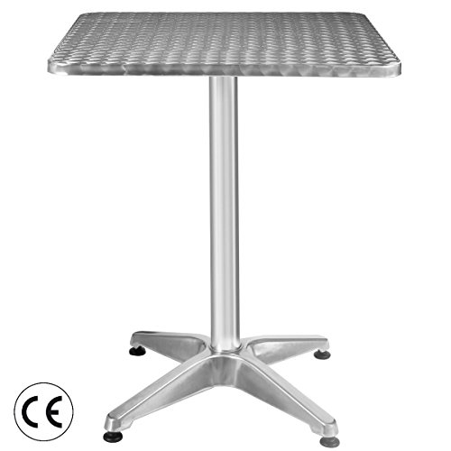 Picotech Bistro Bar Table MDF Stainless Steel Covering Aluminum Column Base Silver Durable Heavy Duty Stable Sturdy Rust-free UV Resistant Waterproof Plastic Floor Glides Lightweight Restaurant Hotel by Picotech