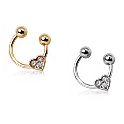 2PC Set Clear Gems Heart Steel Horseshoe Barbell Cartilage Rings (16G 5/16