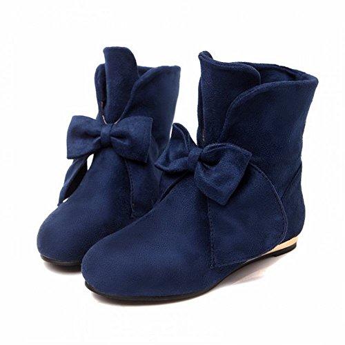 Carol Shoes Fashion Womens Bowknots Cute Sweet Middle Hidden Heel Dress Boots Deep Blue bpOEautg