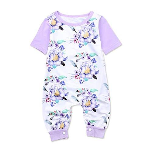 - ❤️ Mealeaf ❤️ Newborn Infant Baby Girls Flower Floral Print Romper Bodysuits Playsuit(Purple,70)