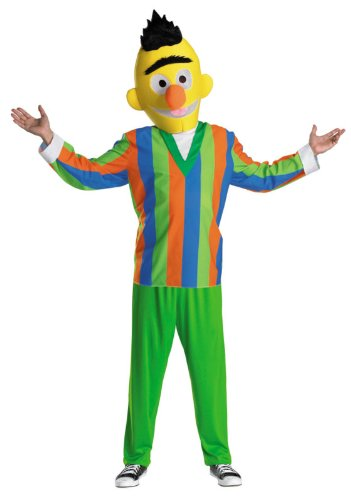 Disguise Men's Sesame Street Bert Costume, Green/Blue/Orange/Yellow, Medium -