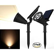 Solar Spotlights, Kiwii Warm Light 2-in-1 Adjustable 4 LED Wall / Landscape Solar Lights with Automatic On/Off Sensor, 2 Pack