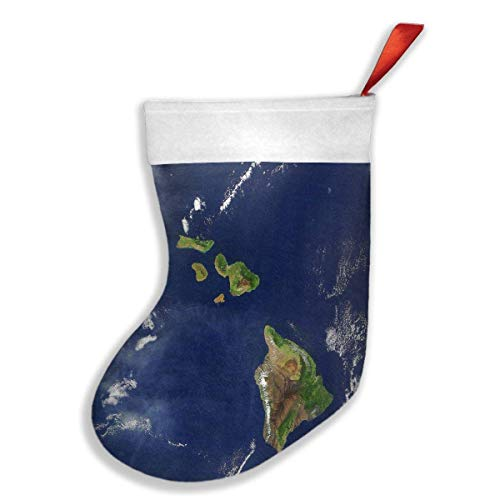 Christmas Stockings Satellite Image of The Hawaiian Islands Inspiring Christmas Holiday Socks Christmas Decor 18""