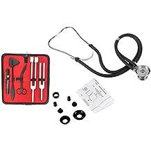 "Ultimate ENT Set Black Premium Stethoscope & Tactical Black - Set of 5 pcs Reflex Percussion Taylor Hammer + Penlight + Tuning Fork C 128 C 512 + Bandage Scissors 5.5"""