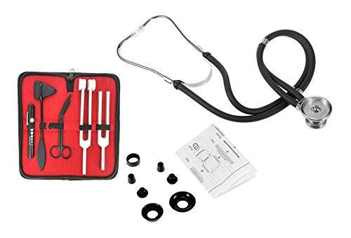 (Ultimate ENT Set Black Premium Stethoscope & Tactical Black - Set of 5 pcs Reflex Percussion Taylor Hammer + Penlight + Tuning Fork C 128 C 512 + Bandage Scissors 5.5