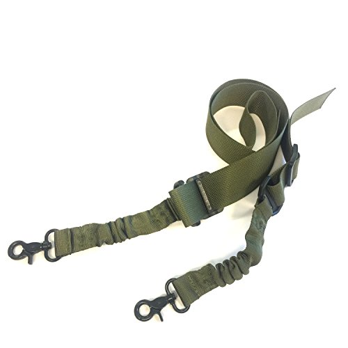 Two Points Gun Sling Adjustable Rifle Sling with Elastic Bungee Cord for Hunting (Green)