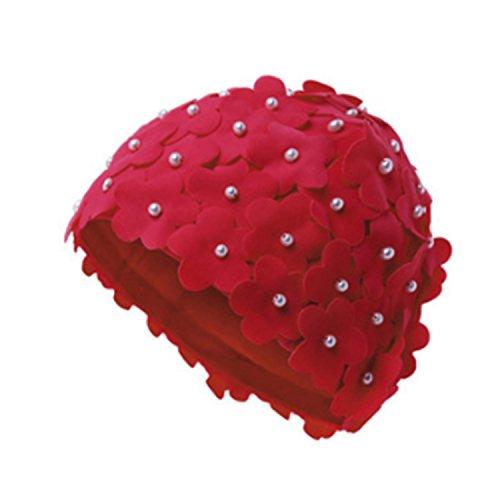 QQI Femme Natation Cap Main Coudre Perle Fleur Natation Chapeau bonnet de bain pour Enfant pour Adulte