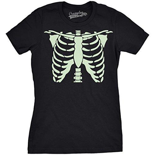 - Womens Glowing Skeleton Tshirt Rib Cage Cool Glow in The Dark Halloween Tee (Black) L