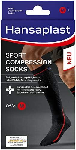 Hansaplast Sport Compression Socks, Sport Kompressions-Strümpfe zur Unterstützung der Muskulatur, Kniestrümpfe fördern die Muskelregenration, 1 Paar, Größe S/M