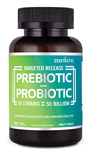 Zentastic Probiotics & Prebiotics Supplement – 50 Billion CFU – for Men & Women's Immune & Digestive Health – 16 Strains – Shelf Stable – 60 Delayed Release Veggie Capsules