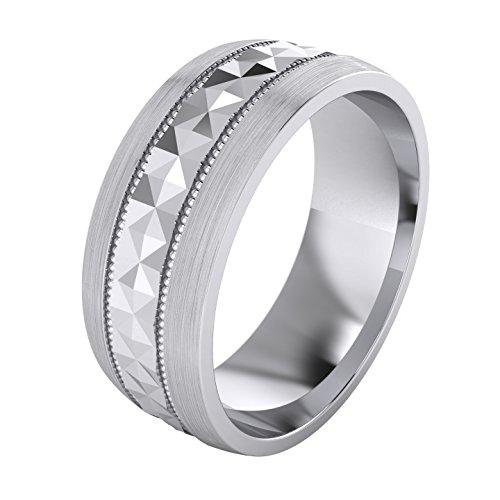 LANDA JEWEL Heavy Sterling Silver 8mm Mens Wedding Band Diamond Cut Pyramid Patterned Ring Comfort Fit Brushed (7) Cut Brushed Wedding Ring