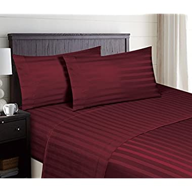 Hotel Luxury STRIPED Bed Sheets Set-SALE TODAY ONLY! #1 Rated On Amazon-Top Quality Bedding 1800 Series Platinum Collection-100% Money Guarantee!Deep Pocket, Wrinkle & Fade Resistant(Queen,Burgundy)