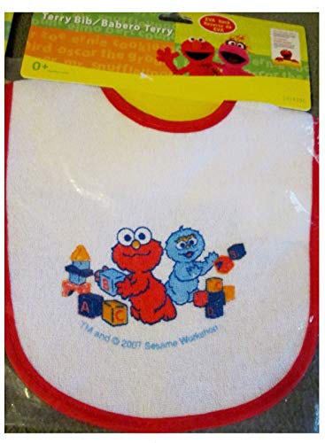(Sesame Street Terry Cloth Bib. Baby Elmo & Cookie Monster)