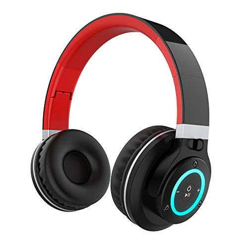 (Ranipobo Bluetooth Headphones Over Ear, Hi-Fi Stereo Wireless Headset with 7 Color Lights, Foldable Adjustable, Soft Memory-Protein Earmuffs, Built-in Mic and Wired Mode for PC/Cell Phones/TV)